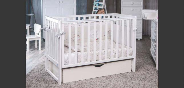 Кроватка с ящиком Twins Pinocchio Белая