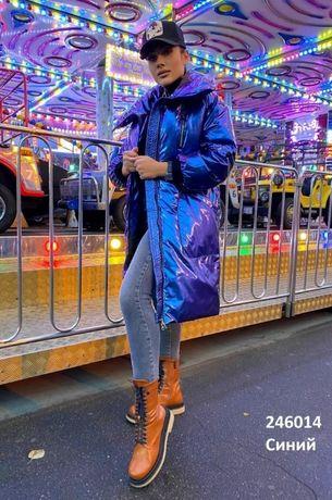 Дутое пальто блестящее, лак, куртка, 48-50р.