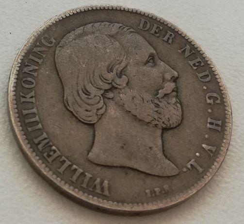 Holandia 1 Gulden 1863 srebro 0.945 Wilhelm III 1G 100C