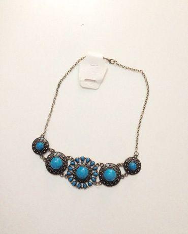 RU112 Fio Colar Estilo Vintage Azul Colares Mulheres Moda