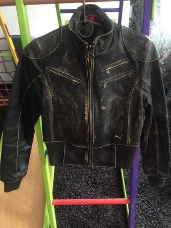 Кожаная курточка PUMA, куртка кожанка XS-S(размер 34-36 или 40-42)
