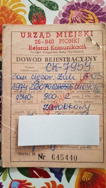 Żuk A03 1974 dowód kolekcjonerski