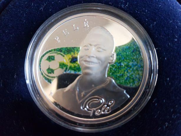 Срібна монета ,Серебряная монета из серии Короли Футбола Пеле.