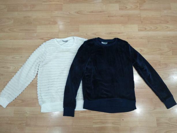 Sweterki 146/152 biały i granatowy
