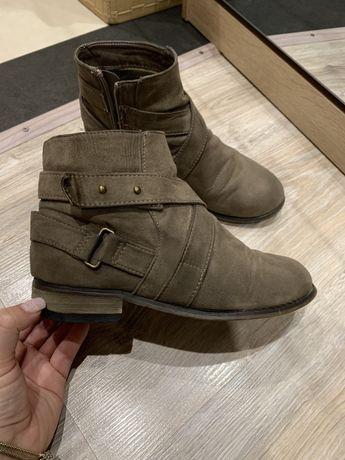 Ботинки осенние демисезон коричневые под замшу