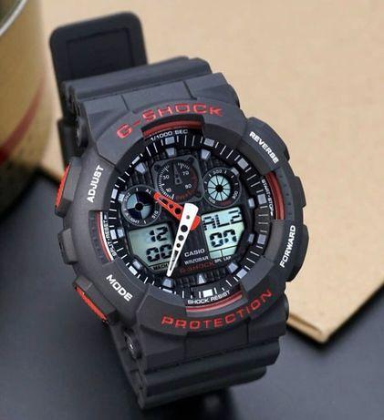 Czarny z czerwonym zegarek Casio G-Shock GA-100 super jakość