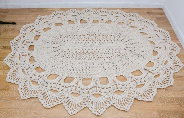 Dywan sznurek bawełniany, owal, naturalny 240×160 cm rękodzieło
