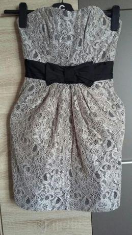H&M sukienka suknia koronkowa r. 34 XS kieszenie wesele