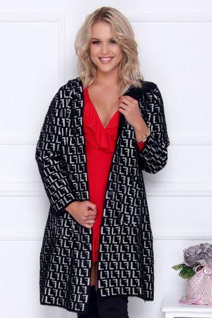 Elegancki płaszcz damski długi z alpaki ciepły z kapturem czarny