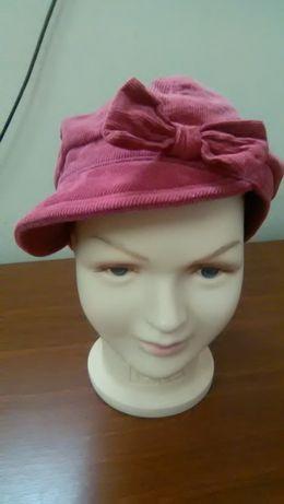 Вельветовая светло-бордовая кепка для девушки как на фото фуражка бант