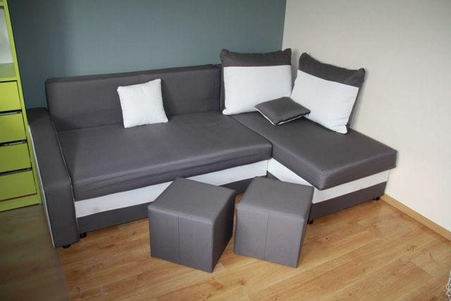 Narożnik, rogówka narożna, łóżko, kanapa + dwie pufy