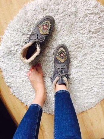 Skórzane buty Promod