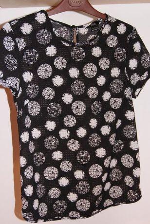 koszula bluzka czerń koła biel r. 36