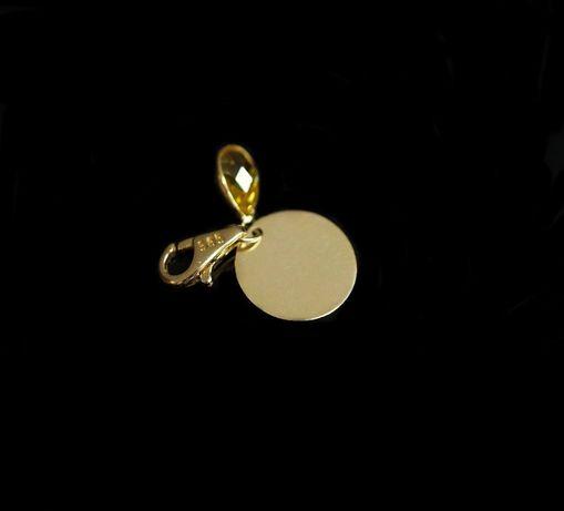 Złoto 585 - złota zawieszka charms kółko z cyrkonią