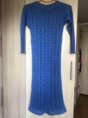 Платье , ручная вязка с отдельной подкладкой