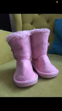 Buty sniegowce rozowe z futerkiem