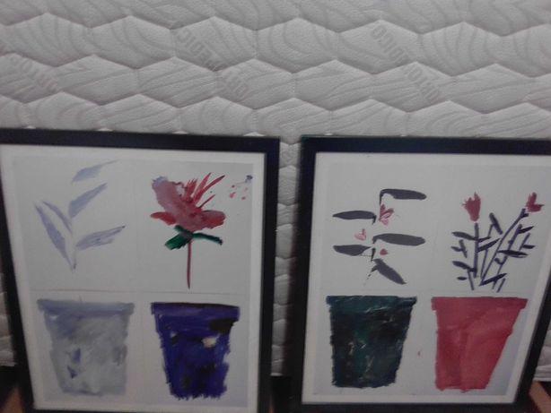 dois quadros com flores