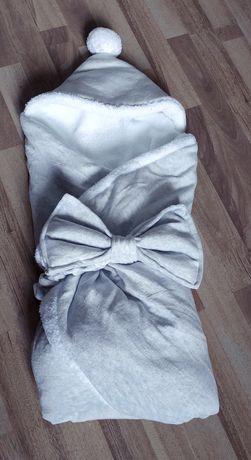 Конверт-одеялко на махре с капюшоном и бубончиком+бант на резинке