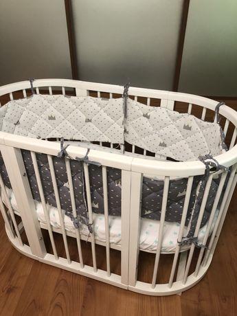 Кроватка 8в1 овальная, круглая Ovalbed с набором постельнго белья