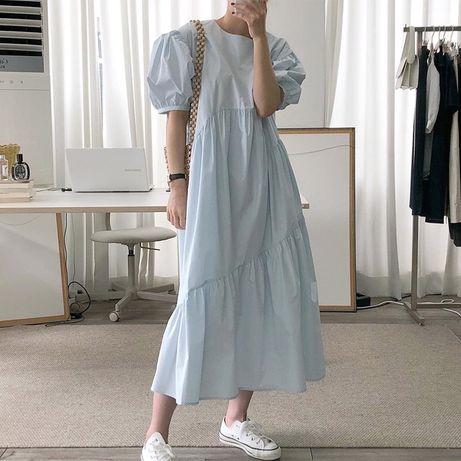 Стильное , оригальное платье оверсайз , платье с пышным рукавом