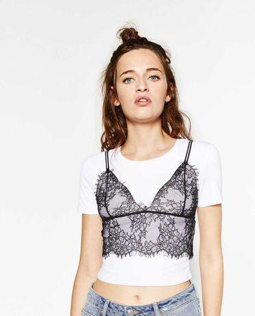Crop top bralette renda Zara tamanho S preto