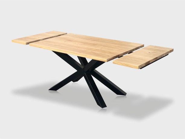 Stół dębowy, rozkładany, 210x85cm, pająk, loft, metal