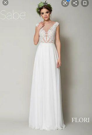 suknia ślubna Sabe Flori 36/38 zwiewna koronkowo - muślinowa Kara