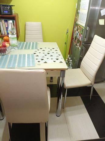 Krzesła 3 sztuki ekri wygodne skay