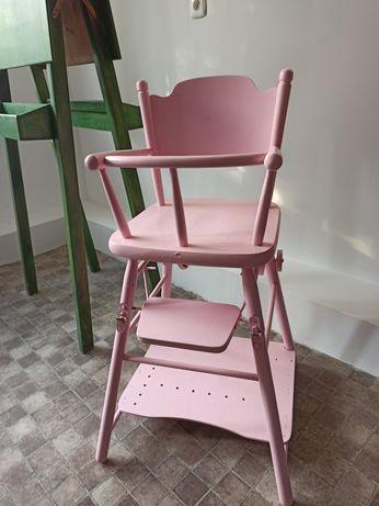 Drewniane krzesełko do karmienia retro PRL oldschoolowe