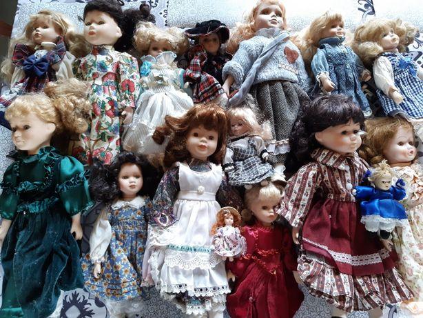 lalki porcelanowe / kolekcja / 16 sztuk