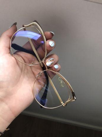 Okulary zerówki oprawki złote kocie duże