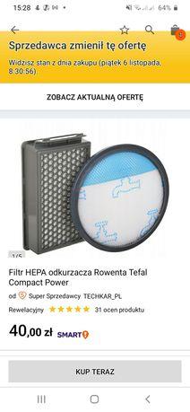 nowy zestaw filtrów (kupiony za 40 zl) do odkurzaczy rowenta tefal