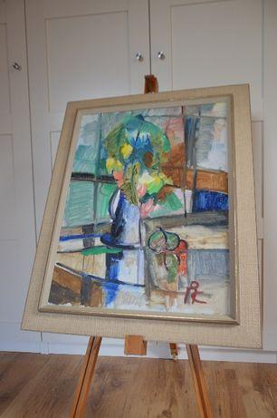 Ciekawy obraz maloany na płótnie, abstrakcyjny wazon. Szwecja.