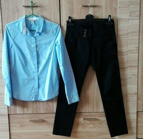 Zestaw XS 34 H&M koszula slim niebieska spodnie czarne