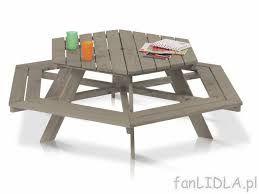 Nowy Drewniany stolik z ławkami dla dzieci - zestaw Florabest