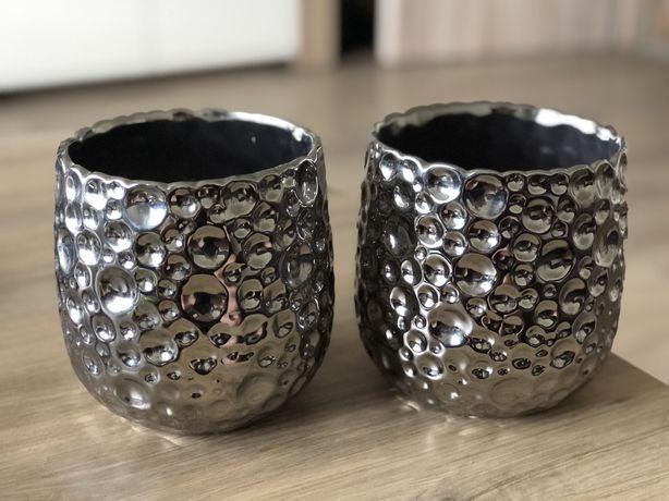 Doniczka doniczki osłonki ceramiczne venus silver komplet 2 szt.