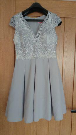 Sukienka elegancka wesele chrzest komunia 38 koronka szara