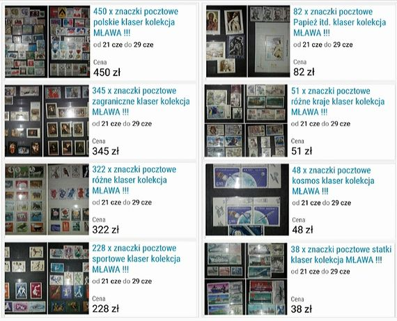 8 x klaser kolekcja znaczki pocztowe 1564 sztuki za 800 zł OKAZJA !!!