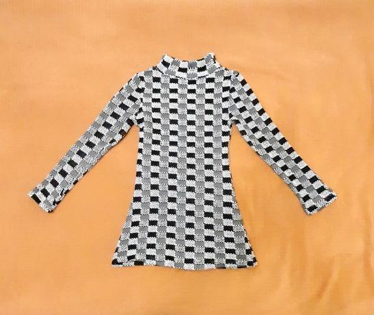 Трикотажное платье на девочку туника чёрно-бело-серое клеточка р42-44
