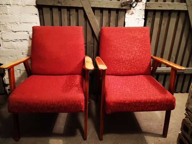 Fotele, Krzesła drewniane PRL, LOFT, DESIGN, VINTAGE, stan BDB, 2 szt.