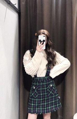 Стильная твидовая юбка со шлейками zara