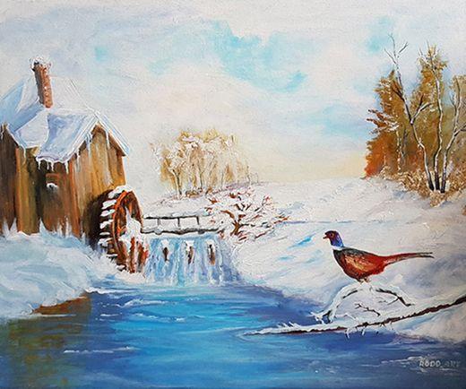 Obraz Olejny - Młyn Zimą