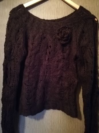 sweter | wełniany | wełna | brąz | kwiatek | rozm. uniwersalny | nowy