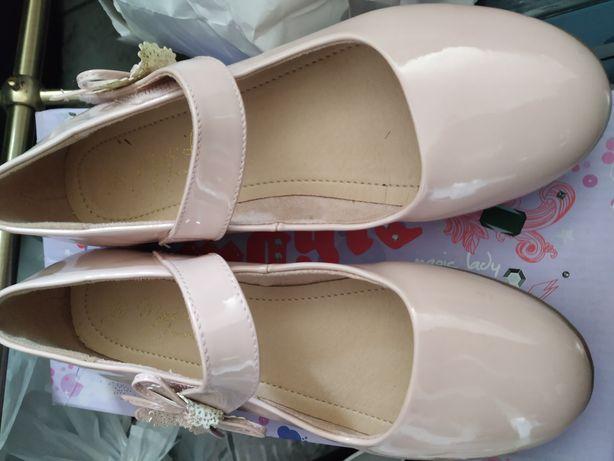 Buty lakierki pantofelki różowe lakierki 36