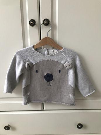 Sweter next baby miś 6-9 mcy