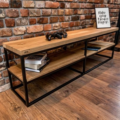 Szafka RTV w stylu loft z dębowym drewnem litym