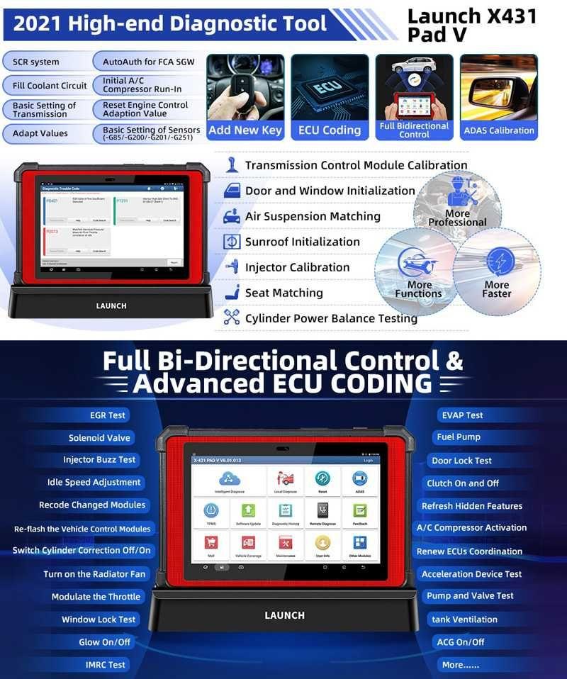 Máq. Diagnostico Auto Launch X431 Pad V ( programação on-line ecu )