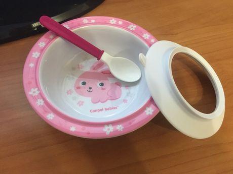 Детская посуда Canpol тарелка на присоске,ложка,кружка-непроливайка