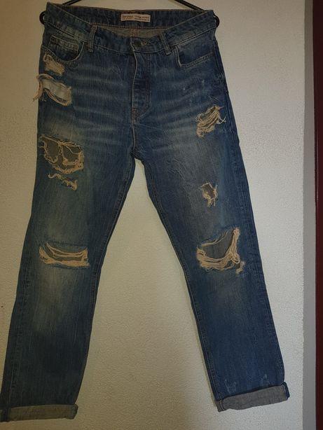 Boyfrendy spodnie Bershka36.Vintage.Dziury.guziki.gruby jeans.boyfrend