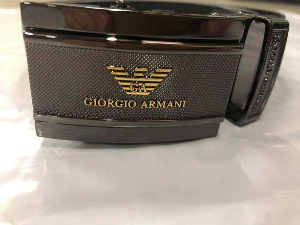 Armani Pasek Meski Złote Logo